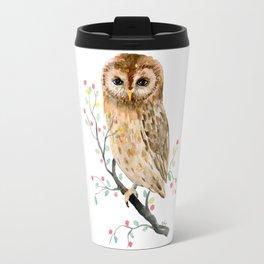 Watercolor Little Owl Portrait Travel Mug