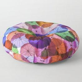 Umbrellas in the sky Floor Pillow