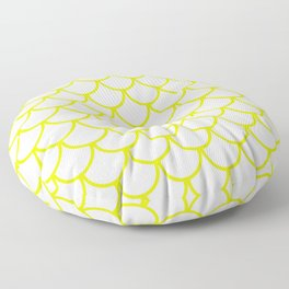 Chartreuse Fish Scales Pattern Floor Pillow