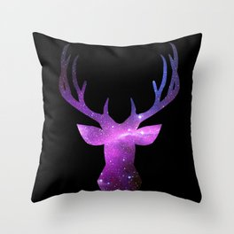 Galaxy Deer Throw Pillow