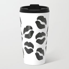 Black Glitter Lips Travel Mug