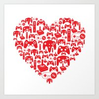 gaming Art Prints featuring Gaming Love by Tombst0ne