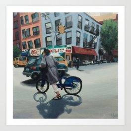 Woman Biking on 7th Avenue Art Print