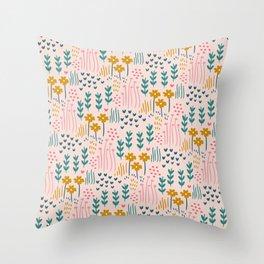 Floral Pink Garden Throw Pillow
