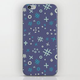 Memphis style abstract in blue tone iPhone Skin