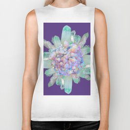 SPARKLING GREEN & PURPLE QUARTZ CRYSTALS PURPLE ART Biker Tank