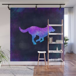 DOG RUNNING IN SPACE // Animal Graphic Art // Watercolor Canvas Painting // Modern Minimal Cute Wall Mural