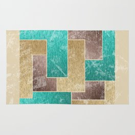 Mod Retro Digital Graphic Old Worn Velveteen Tile Rug