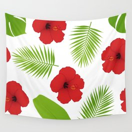 Red hibiscus and palm leaves seamless pattern. Wall Tapestry