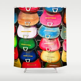 Colorful Wooden Guitars Shower Curtain