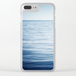 Blue Ocean Seascape, Dark Blue Sea Landscape Photography, Ocean Horizon Clear iPhone Case