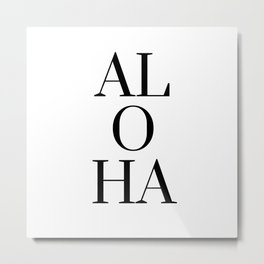 Black And White Aloha Hawiian Tropical Metal Print