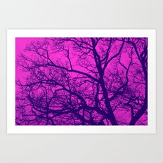 Pink and Blue Tree Art Print