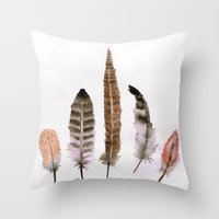 feathers Throw Pillows featuring Feathers by emegi