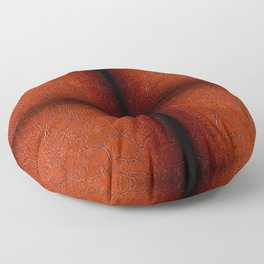 Brown puckered leather material abstract Floor Pillow