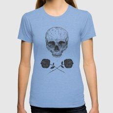 Skull N' Roses MEDIUM Womens Fitted Tee Tri-Blue