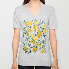 yellow lemon watercolor 2020 Unisex V-Neck