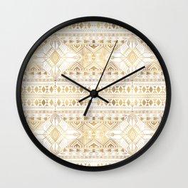 Trendy Gold Geometric Tribal Aztec Pattern Wall Clock