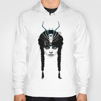 women Hoodies featuring Wakeful Warrior - In Blue by Ruben Ireland