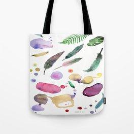 Feather, Leaves, Dot Splash. Tote Bag