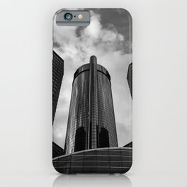 Renaissance Center in Black and White iPhone Case