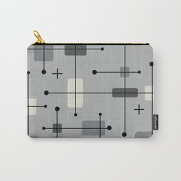 Rounded Rectangles Squares Gray Carry-All Pouch