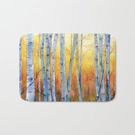 Birch Trees at Sunset Bath Mat