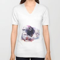 monkey island V-neck T-shirts featuring Monkey by Cristian Blanxer
