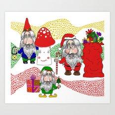 Christmas Santa, Gnome and Elf Art Print