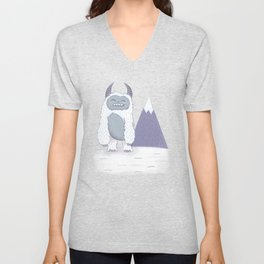 Yeti in the Mountains - Blue Unisex V-Neck
