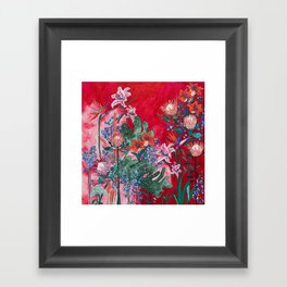 Ruby Red Floral Jungle Framed Art Print