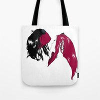 rock and roll Tote Bags featuring Rock 'n' Roll xxx by Andrew Mark Hunter