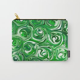 Emerald Green, Green Apple, and White Paint Swirls Carry-All Pouch