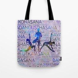 Yoga Asanas/Poses Sanskrit Word Art Tote Bag