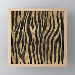 Tiger Faux Fur Texture black abalone and gold Framed Mini Art Print