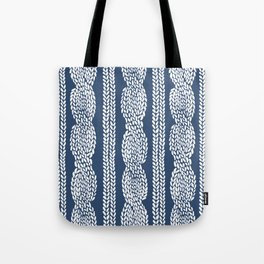 Cable Navy Tote Bag