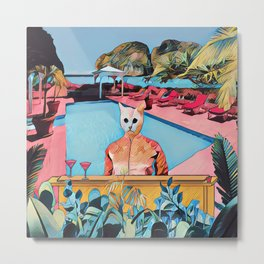 Kitty pool Metal Print