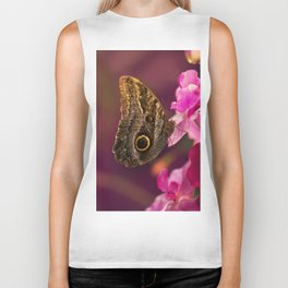 Blue Morpho butterly on pink flowers Biker Tank