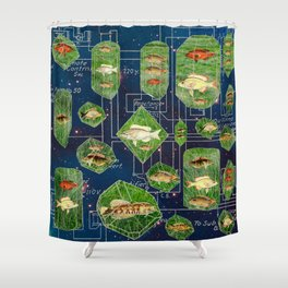 I KEEP MY FISHES CIRCUITRY IN A NEBULA Shower Curtain