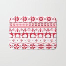 Red Scandinavian Penguin Holiday Design Bath Mat