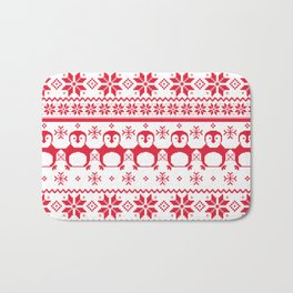 Red Scandinavian Penguin Holiday Design Bath Mat