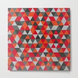 Hot Red and Grey / Gray -  Geometric Triangle Pattern Metal Print