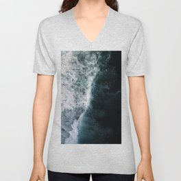 Oceanscape - White and Blue Unisex V-Neck