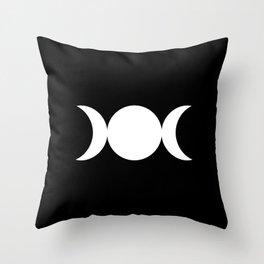 Triple Goddess Symbol – Divine Feminine – Maiden, Mother, Crone - White on Black Throw Pillow