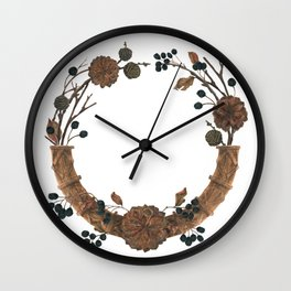 Dried Winter Wall Clock