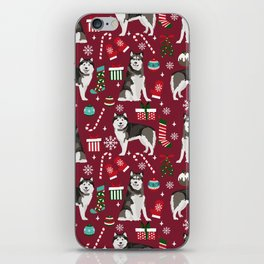 Alaskan Malamute dog christmas pattern candy canes christmas presents iPhone Skin