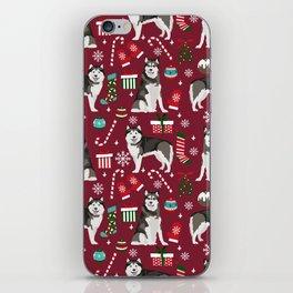 Alaskan Malamute dog christmas pattern candy canes christmas presents iPhone Skin