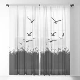 Seagulls Flying over Sand Dunes Sheer Curtain