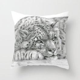 Pensive Snow Leopard  Throw Pillow