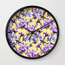Irises and Butterflies Wall Clock